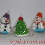 Кондитерські декорації : 2 сніговики та ялинка